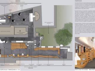 PLANTA EXPLICATIVA NUEVOS USOS. PLANTA BAJA. : Oficinas y Tiendas de estilo  de INHALO INTERIORISMO E INFOARQUITECTURA 3D