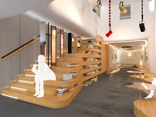 Infografía 3D del detalle de la nueva escalera a planta primera. : Oficinas y Tiendas de estilo  de INHALO INTERIORISMO E INFOARQUITECTURA 3D