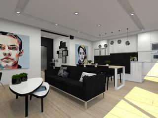 Dom jednorodzinny w Tychach.: styl , w kategorii Salon zaprojektowany przez PR Architects Sp z o. o. Pala&Rodek