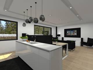 Dom jednorodzinny w Tychach.: styl , w kategorii Kuchnia zaprojektowany przez PR Architects Sp z o. o. Pala&Rodek