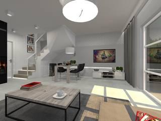 Dom - Gliwice.: styl , w kategorii Salon zaprojektowany przez PR Architects Sp z o. o. Pala&Rodek