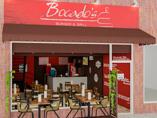 Diseño Restaurant Bocados Burger & Grill de Sixty9 3D Design Minimalista