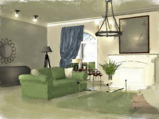 Некоторые эскизы и визуализации Гостиная в колониальном стиле от Геометрия Вкуса Колониальный