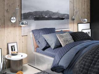 Bedroom an wood - Aviator: Camera da letto in stile  di Santoro Design Render
