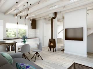 Salon & Jadalnia & Kuchnia / Living Room & Dining Room & Kitchen: styl , w kategorii Salon zaprojektowany przez DOT STUDIO Agnieszka Żakowska-Nowak