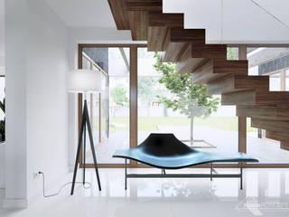 現代風玄關、走廊與階梯 根據 HomeKONCEPT | Projekty Domów Nowoczesnych 現代風