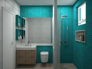Danyela Corrêa Arquitetura Modern bathroom Tiles Blue