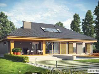 Projekt Gabriel G1 ENERGO - nowoczesny dom z możliwością rozbudowy Nowoczesne domy od Pracownia Projektowa ARCHIPELAG Nowoczesny