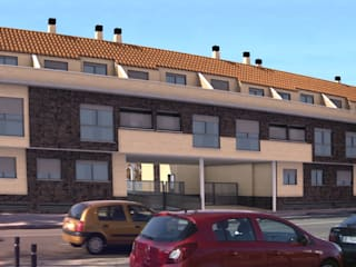 Infografías 3d de Edificio de Viviendas realizado en 2015 Casas de estilo moderno de A3D INFOGRAFIA Moderno