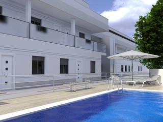 Fachada_vista 2: Casas de estilo clásico de A3D INFOGRAFIA