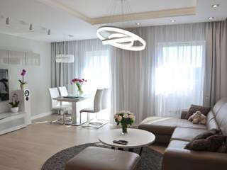 Mieszkanie 74m2 - Albatross Towers Gdańsk - 2016: styl , w kategorii Salon zaprojektowany przez Pracownia Projektowa Studio86