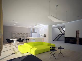 Salon z aneksem kuchennym, Łódź: styl , w kategorii Salon zaprojektowany przez meinDESIGN