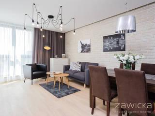 Mieszkanie na wynajem - realizacja Nowoczesny salon od ZAWICKA-ID Projektowanie wnętrz Nowoczesny