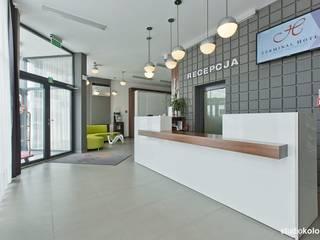 RECEPCJA W HOTELU TERMINAL WE WROCŁAWIU.: styl , w kategorii Hotele zaprojektowany przez STUDIO KOLOROVA