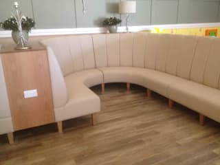 Fluted Banquette Seating _ Garden Centre in Fleet:  Dining room by Atlas Contract Furniture