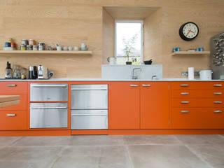North Somerset Kitchen Craigie Woodworks Modern style kitchen Engineered Wood Orange