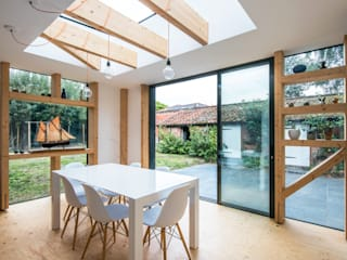 Staggered Glulam Extension, 2016 TAS Architects Modern dining room Engineered Wood