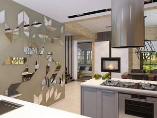 ДИЗАЙН ИНТЕРЬЕРА БРУСОВОГО ДОМА С ЦОКОЛЬНЫМ ЭТАЖОМ: Кухни в . Автор – META-architects архитектурная студия