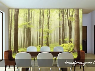 Dining room decoration - a Silent forest from using a Woodland Wall Mural: modern  by the WOW wall Ltd, Modern