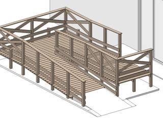 【DIY】ウッドデッキスロープ カントリーデザインの テラス の 合同会社 サイプレスMiyaby カントリー