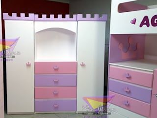 Distinguido ropero para princesas de camas y literas infantiles kids world Clásico Derivados de madera Transparente