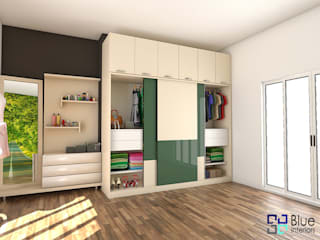 Forest Green Glossy - Wardrobe Design:   by Blue Interiors