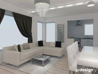 Wnętrza domu jednorodzinnego w stylu glamour: styl , w kategorii Salon zaprojektowany przez yv design