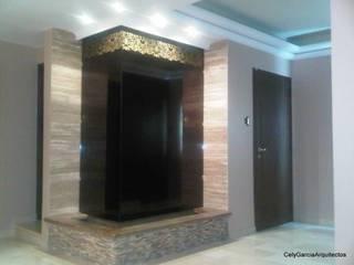 CelyGarciArquitectos Salas de estilo moderno Vidrio Ámbar/Dorado