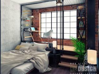 Industrial style bedroom by Студия дизайна интерьера 'REDESIGN' Industrial