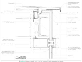 Techo de vidrio - Frente integral - Detalle en corte:  de estilo  por mm ARQUITECTOS