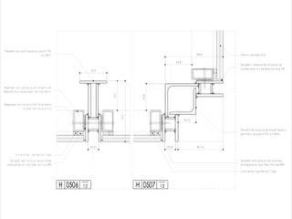 Carpintería de perfiles laminados - Detalle en planta:  de estilo  por mm ARQUITECTOS