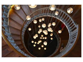 Spiral Stairway Chandelier Heals of London Classical Chandeliers Modern Corridor, Hallway and Staircase