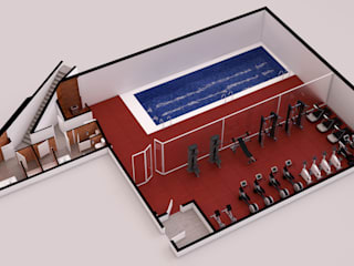 Infografías 3d de Edificio de Viviendas realizado en 2015 Piscinas de estilo moderno de A3D INFOGRAFIA Moderno