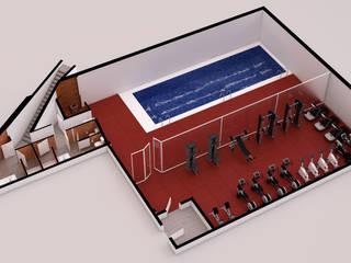 Plano 3D - Zona de ocio: Piscinas de estilo moderno de A3D INFOGRAFIA