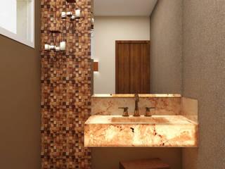 Lavabo + Pedra Onix Banheiros rústicos por Celis Bender Arquitetura e Interiores Rústico