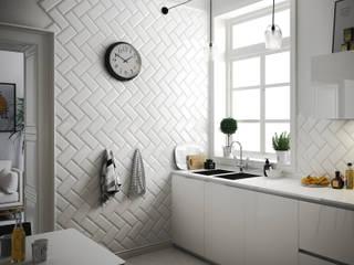 Metro White 10x20 Cocinas de estilo escandinavo de Equipe Ceramicas Escandinavo Cerámico