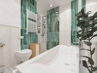 Lazurowa łazienka od ZAWICKA-ID Projektowanie wnętrz