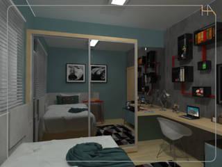 Humanize Arquitetura Camera da letto in stile industriale