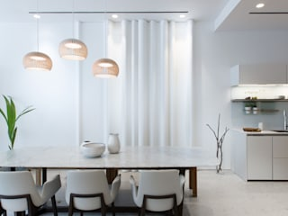 Sensearchitects Limited Minimalist dining room Stone White