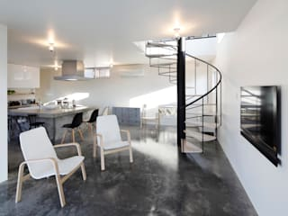 久保田正一建築研究所 Minimalist living room Concrete Grey