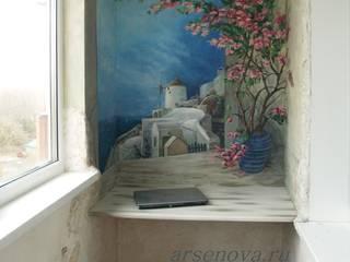 """Роспись стен лоджии """"Санторини"""", искусственный камень, декоративная штукатурка.: Рабочие кабинеты в . Автор – Художественная мастерская 'Оникс',"""