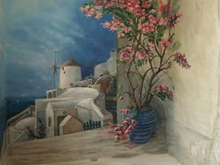 """Роспись стен лоджии """"Санторини"""", искусственный камень, декоративная штукатурка. Рабочий кабинет в средиземноморском стиле от Художественная мастерская 'Оникс' Средиземноморский"""