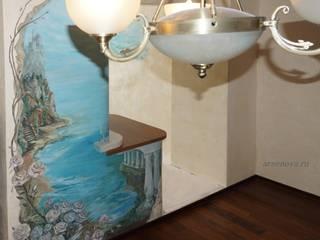 роспись стен спальни-кабинета, барельеф, нанесение декоративной штукатурки, дизайн-проект: Рабочие кабинеты в . Автор – Художественная мастерская 'Оникс',