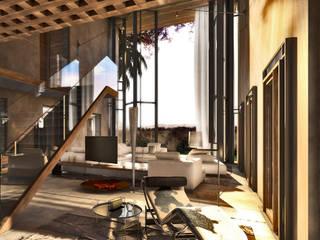 villa nel golf club Amelkis II, Marrakech: Soggiorno in stile in stile Moderno di studio associato AtelierArchitettura
