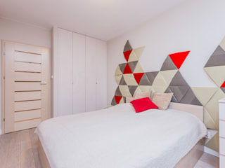 Czerwono-czarne Nowoczesna sypialnia od ZAWICKA-ID Projektowanie wnętrz Nowoczesny