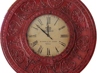 Otantik Çarşı – Eskitme Metal Duvar Saati Kırmızı Renk 114 cm.:  tarz