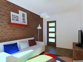 Salon i sypialnia Jawiszowice: styl , w kategorii Salon zaprojektowany przez K. J. Studio - Projektowanie i aranżacja wnętrz,