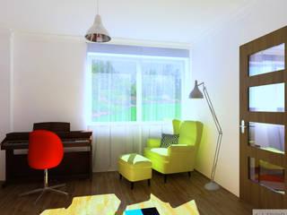 Salon i sypialnia Jawiszowice: styl , w kategorii Sypialnia zaprojektowany przez K. J. Studio - Projektowanie i aranżacja wnętrz,