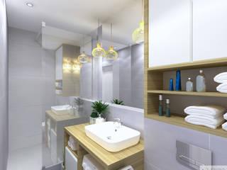 Szara łazienka: styl , w kategorii Łazienka zaprojektowany przez K. J. Studio - Projektowanie i aranżacja wnętrz,