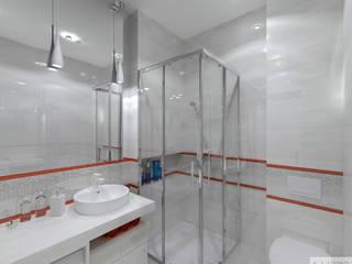 Biała łazienka: styl , w kategorii  zaprojektowany przez K. J. Studio - Projektowanie i aranżacja wnętrz,